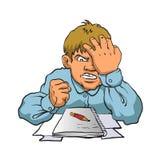 Frustrated boy studying. Vector illustration royalty free illustration