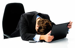 Frustrated business laptop Royalty Free Stock Photos