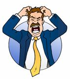 Frustrated Business Man. This is a cartoon illustration of a very frustrated business man pulling out his hair. The emotions of anger stock illustration