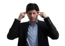 Frustrated business man with a headache Royalty Free Stock Photo