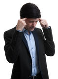 Frustrated business man with a headache Royalty Free Stock Photography