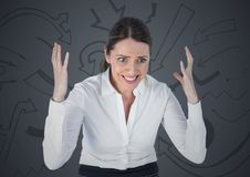 Frustrated business woman against grey background and arrow graphics Stock Photography