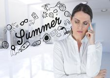 Frustrated business woman against summer doodle and blurry white office. Digital composite of Frustrated business woman against summer doodle and blurry white stock image