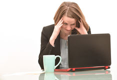 Frustrated business woman and bad news Royalty Free Stock Image