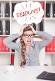 Frustrated business woman in glasses screaming. In office Stock Images