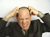 Frustrated Businessman. Businessman Frustrated with work - white background Stock Photos