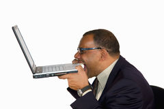 Frustrated businessman biting into his laptop. A frustrated mature African-American businessman biting into his laptop, isolated on white background Royalty Free Stock Photo