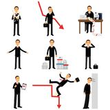 Frustrated businessman character set, business and financial failure  Royalty Free Stock Image