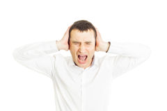 Frustrated businessman closing his ears Royalty Free Stock Photography