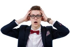 Frustrated businessman in eyeglasses touching his head Royalty Free Stock Images