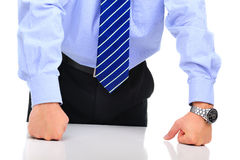 Frustrated businessman on a meeting Royalty Free Stock Image
