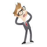 Frustrated businessman screaming. Vector illustration of a cartoon character: Frustrated businessman shouting and tearing his hair stock illustration