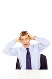 Frustrated businessman yelling Royalty Free Stock Images
