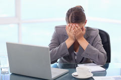 Frustrated businesswoman crying Stock Photos