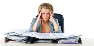 Frustrated businesswoman with folders Royalty Free Stock Images
