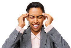 Frustrated Businesswoman Suffering From Headache Royalty Free Stock Images