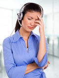 Frustrated Call-Center Rep Royalty Free Stock Images