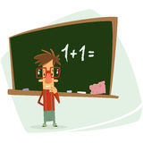 Frustrated cartoon pupil school kid stressed in front of blackbo Royalty Free Stock Image