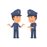 Frustrated Character Officer can not help to solve the problem Stock Images