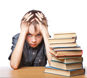 Frustrated child with learning difficulties royalty free stock images