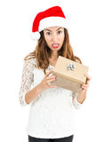 Frustrated christmas gift woman Stock Images