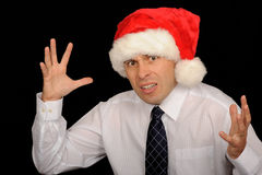 Frustrated Christmas Man Stock Photo