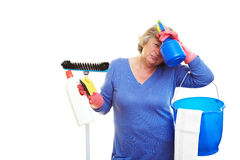 Frustrated cleaning lady Royalty Free Stock Photo