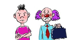 Frustrated man. Frustrated clown, people who have the wrong profession stock illustration
