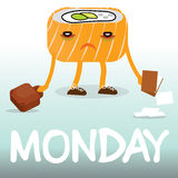 Frustrated comic cartoon sushi Royalty Free Stock Images