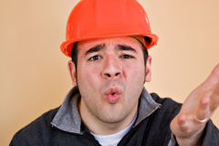 Frustrated Construction Worker. This construction worker is frustrated and confused about something stock images