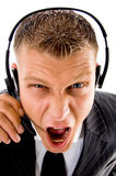 Frustrated customer complaining and shouting Stock Photography