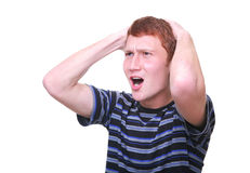 Frustrated and disappointed young man. Isolated frustrated and disappointed young man in t-shirt Stock Image