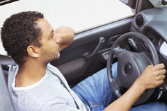 Frustrated driver stuck in traffic jam Royalty Free Stock Photo