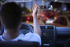 Frustrated driver in traffic jam. A Frustrated driver in traffic jam Royalty Free Stock Photos