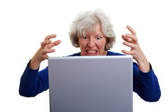 Frustrated elderly woman Stock Images