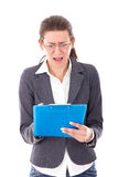 Frustrated female student preparing exams Royalty Free Stock Images
