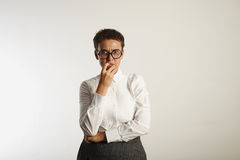 Frustrated female teacher in conservative clothes stock photo