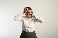 Frustrated female teacher in conservative clothes stock photos