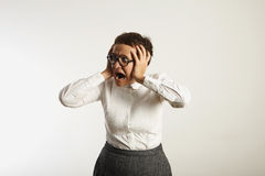 Frustrated female teacher in conservative clothes stock image