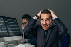 Frustrated financial broker Stock Photo