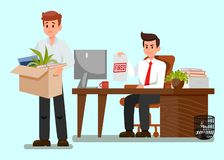 Frustrated Fired Worker Flat Vector Illustration. Boss Showing Document with Fired Red Stamp. Man leaves Office with Stuff. Upset Young Guy Clipart. Loosing vector illustration
