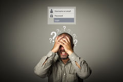 Frustrated. Forgot password concept. Question-marks Royalty Free Stock Photos