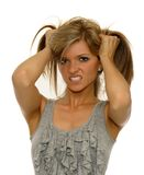 Frustrated girl. Beautiful woman feeling stressed and frustrated royalty free stock images