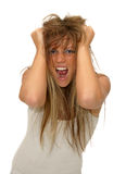 Frustrated girl. Expressive girl - Frustrated woman in a white background stock photography