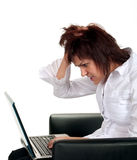 Frustrated girl with computer problem Stock Photos