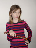 Frustrated girl with recorder Stock Photography