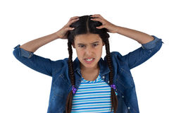Frustrated girl scratching her head Stock Photo