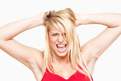 Frustrated girl screaming Stock Photo