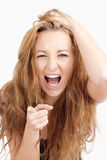 Frustrated Girl Screaming, Pointing with Index Finger Royalty Free Stock Photos