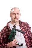 Frustrated handyman royalty free stock image